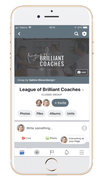 Join the League of Brilliant Coaches Community. (phone mock-up)